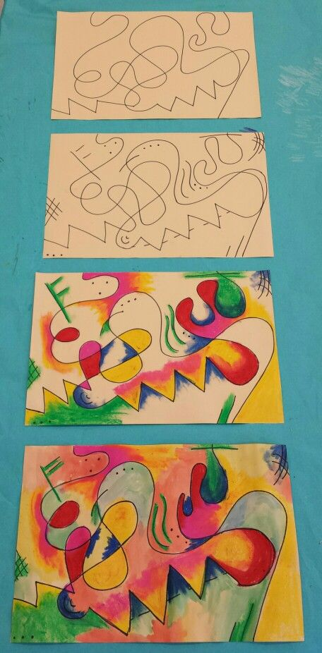 9e6fc2c81a1 Kandinsky inspired art for kids. Step by step. Sharpie, oil pastel ...