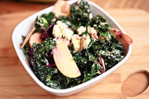 An apple, beet and chèvre kale salad! Did somebody say vegan chèvre?! Come at me, bro!