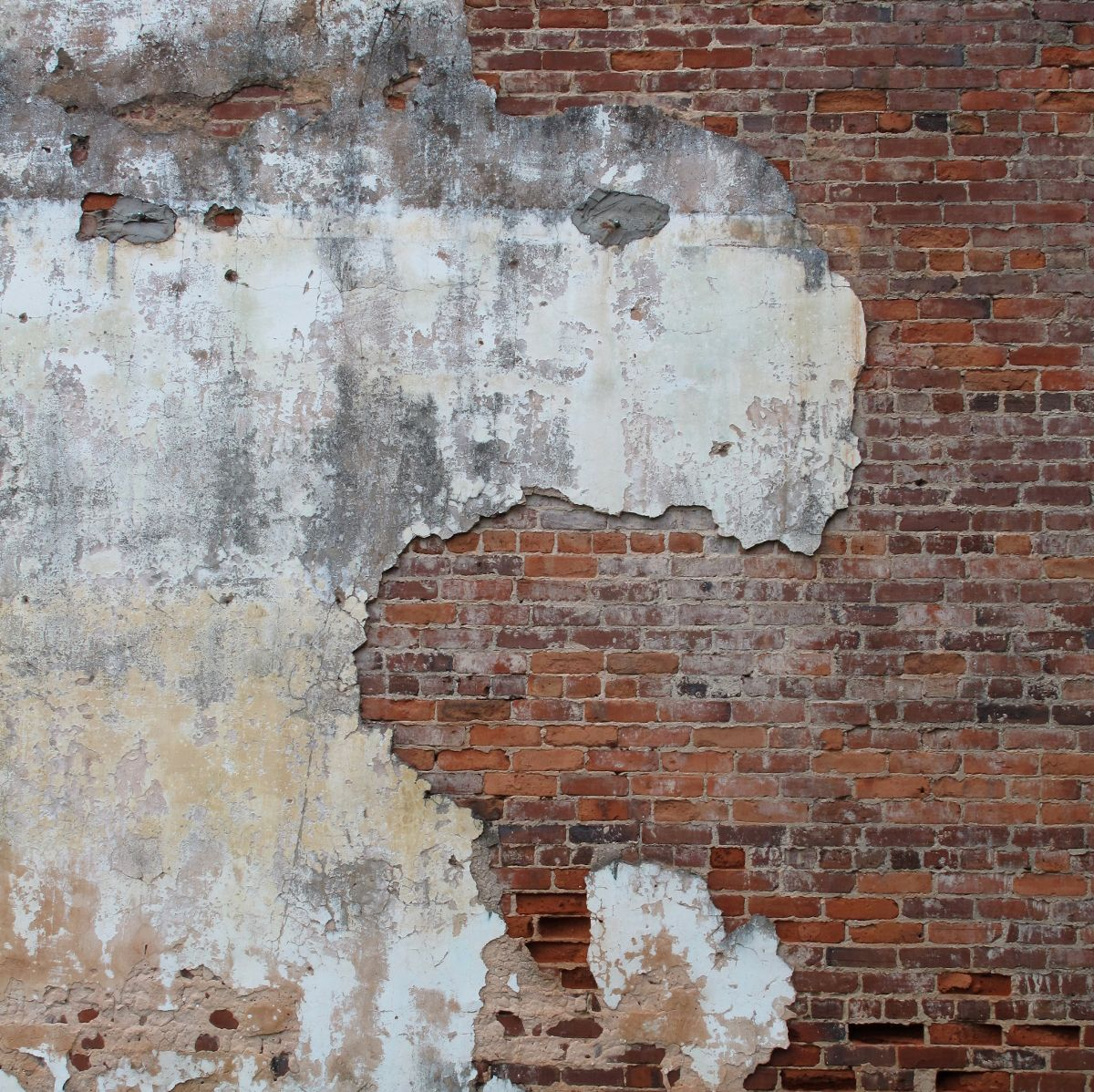 Contrast Between Stone And Plaster Finish: Old Brick Wall, Old