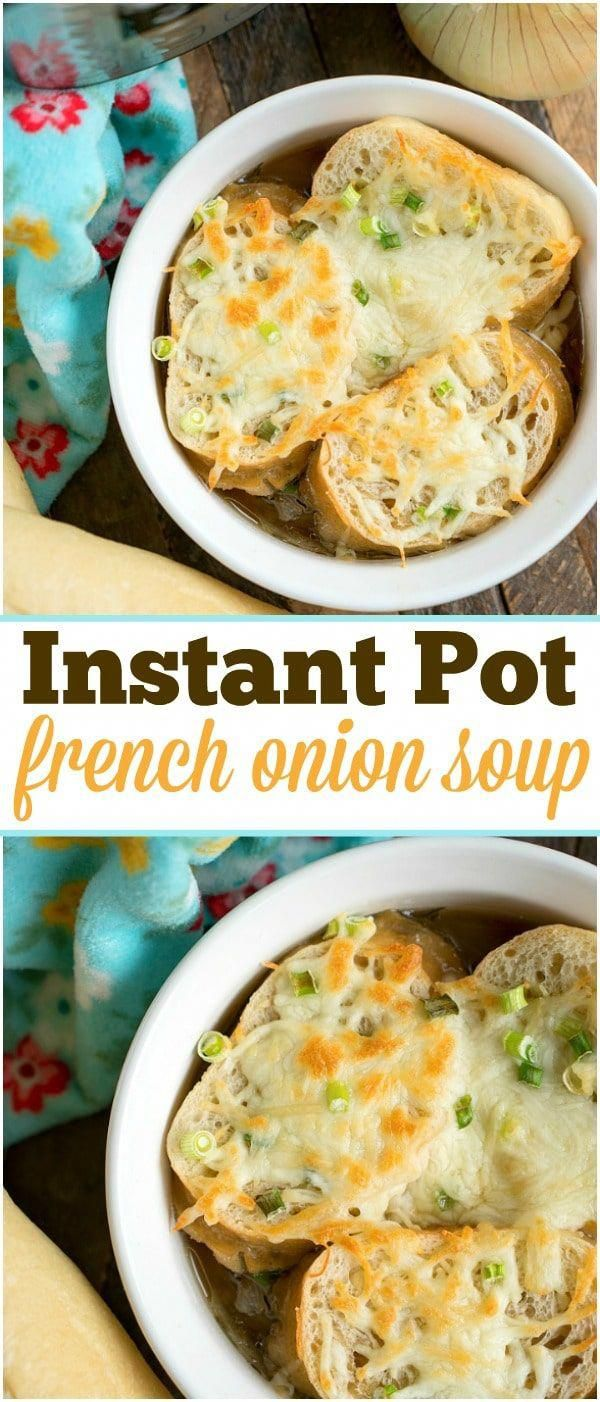 I've got the easiest pressure cooker french onion soup topped with french bread and cheese for you! Done in just 3 minutes in your Instant Pot.