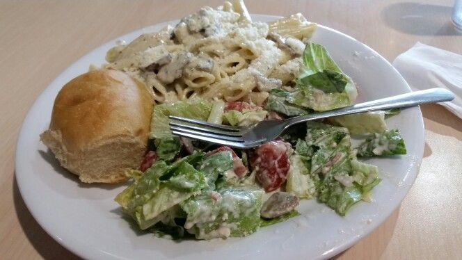 Penne with chicken and mushroom white wine sauce.Delish.