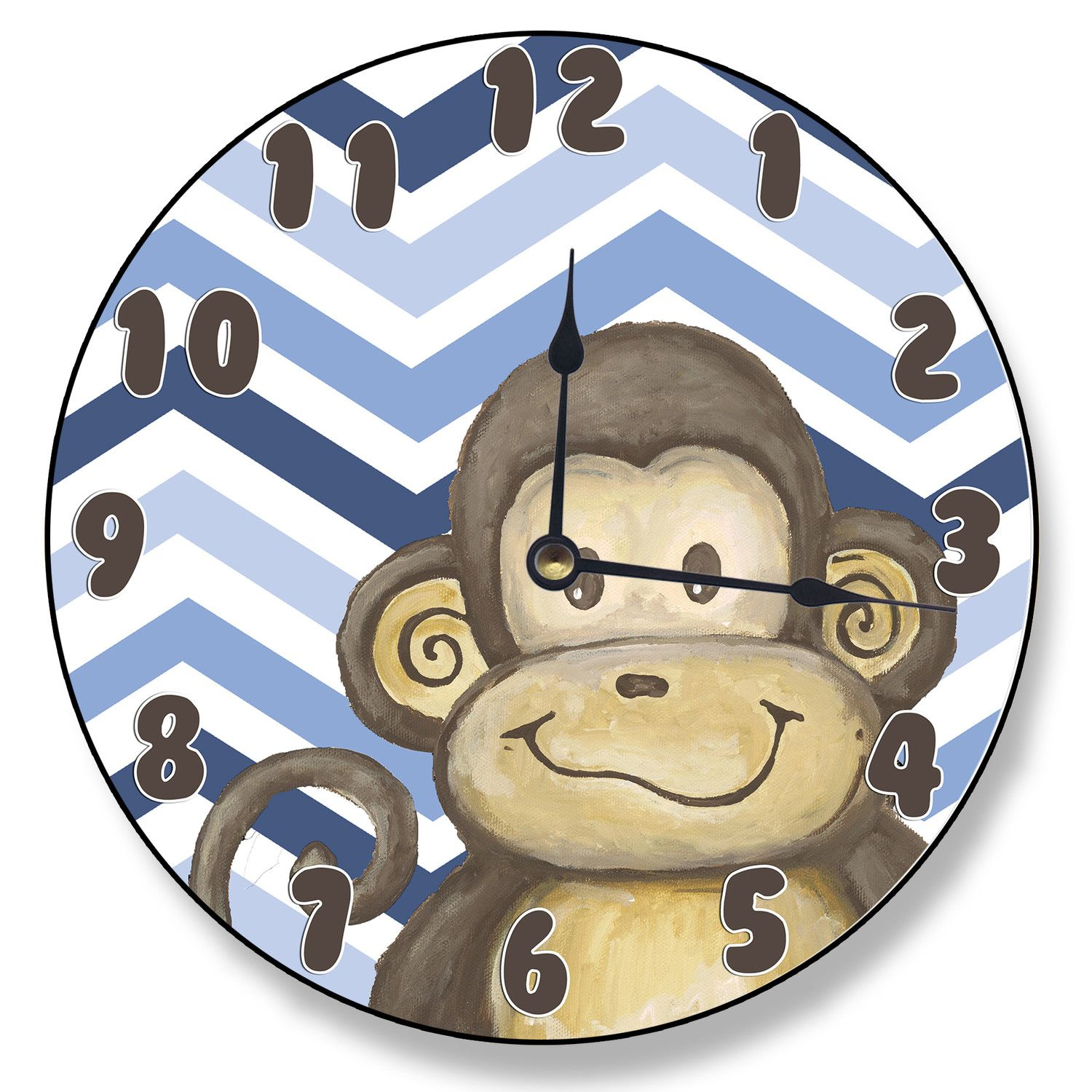 Stupell Industries 12 Monkey And Blue Chevron Vanity Clock Chevron Clock Monkey Clock Childrens Clock