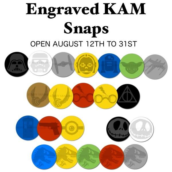 Engraved Kam Snaps!! I ordered the Droids set (top row from