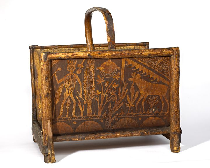 """Dimensions: H 20"""", W 18 1/2"""", D 14 1/2"""" Date / Circa: Circa 1900-20 Maker / Origin: Joseph Nicholson Medium: Carved pine and decorated birch bark. Miscellaneous: Perhaps the only signed piece by Joseph Nicholas. Inscribed in pencil on bottom: """"From Joseph Nicholas, Princeton, Maine"""""""