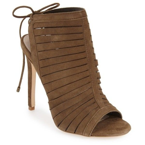 "Steve Madden 'Alayna' Cage Sandal, 4 1/4"" heel ($130) ❤ liked on Polyvore featuring shoes, sandals, olive suede, high heel stilettos, olive green sandals, caged sandals, suede sandals and caged high heel sandals"