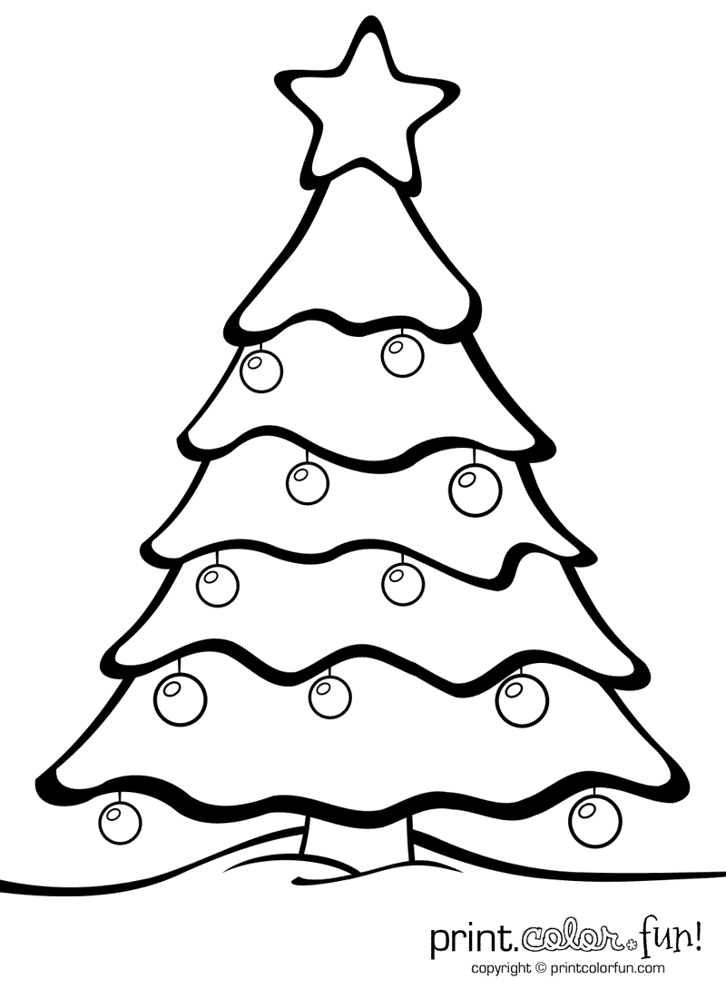 Christmas Tree With Ornaments Print Color Fun Free Printables Coloring Pages Christmas Tree Template Christmas Tree Coloring Page Christmas Tree Outline
