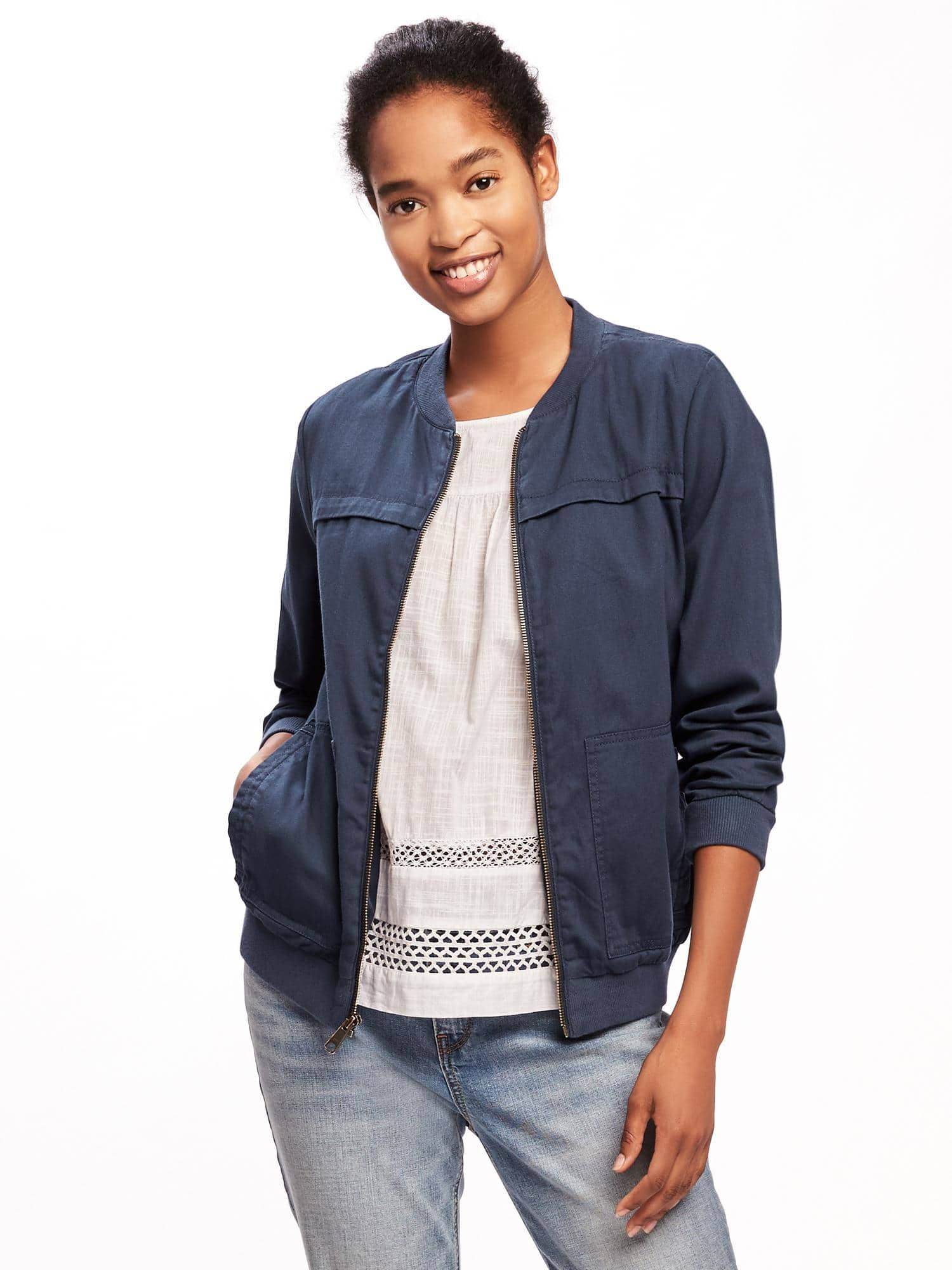 Love This Twill Bomber Jacket For Women From Old Navy The Color Is Nice And I Like The Looser Fit Fall Capsule Wardrobe Jackets For Women Bomber Jacket [ 2000 x 1500 Pixel ]