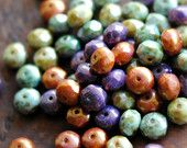 10 Fruit Loops - Czech Glass Rondelle Beads 6x8mm