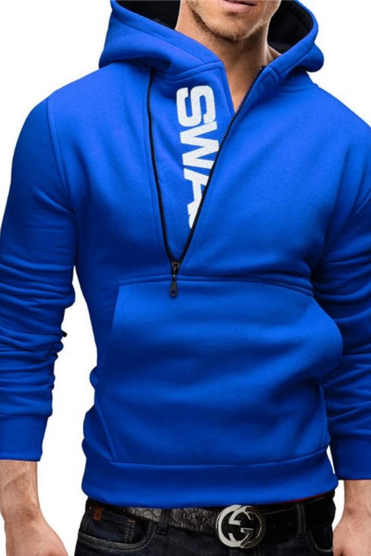 2017 New Fashion Slim Fit Casual Autumn   Winter Zipper Hoodies Men a84dddc6448f