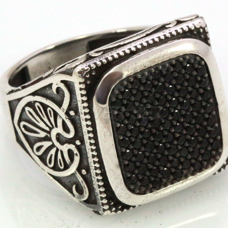 925 sterling silver men ring man turkish sultan black zircon ...