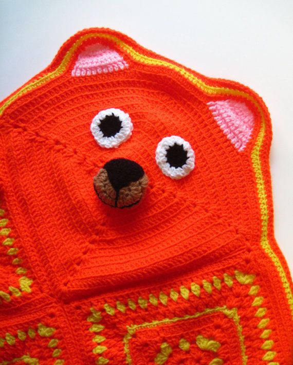 Granny Square Bear Blanket in Orange and Yellow