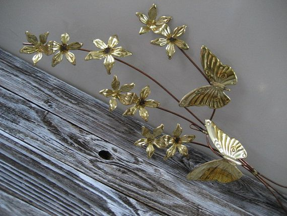Vintage Set of Metal/Brass Wall Flower and by DianesStuffForYou, $23.00