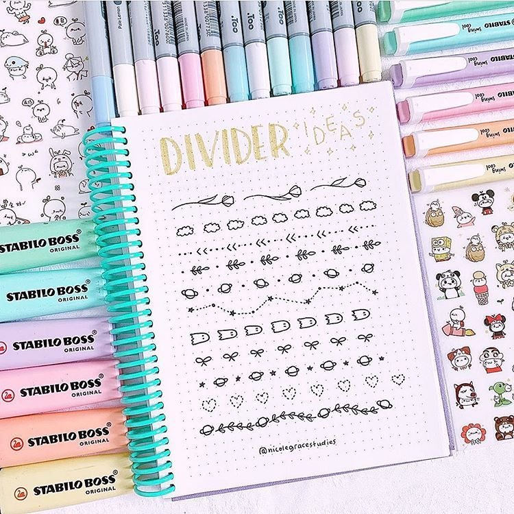 """Photo of Nicole Grace on Instagram: """"Do you guys have any pencil case recommendations? 🍑. Divider ideas for your bullet journal or for your study notes 📝 ⭐️. If you want to… """""""