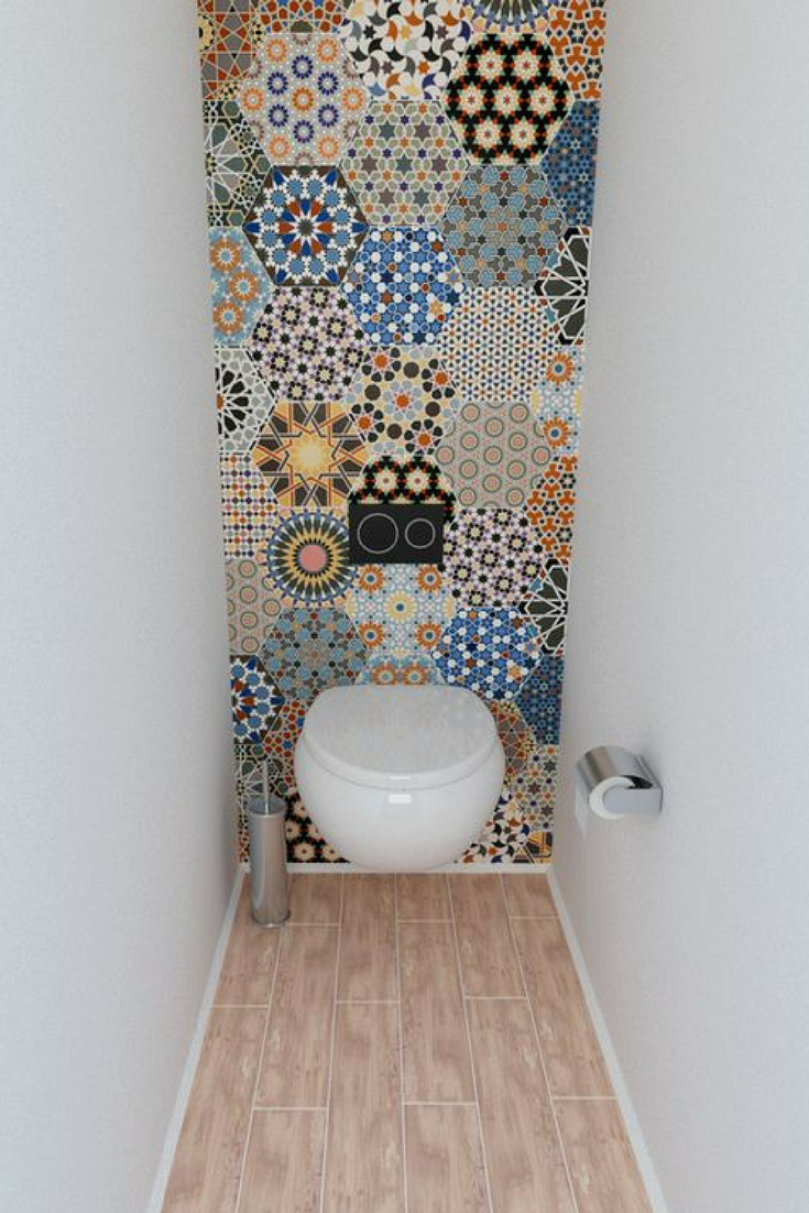 Lovely Hexagonal Mosaic Tiles With Colourful Pattern Toilet Closet Boho Tiles Small Bathroom