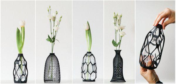 Außen 3D - innen Wasserflasche, die neue Art der Vasen -- 3D Printed Vases Give New Life to Old Bottles - Design Milk