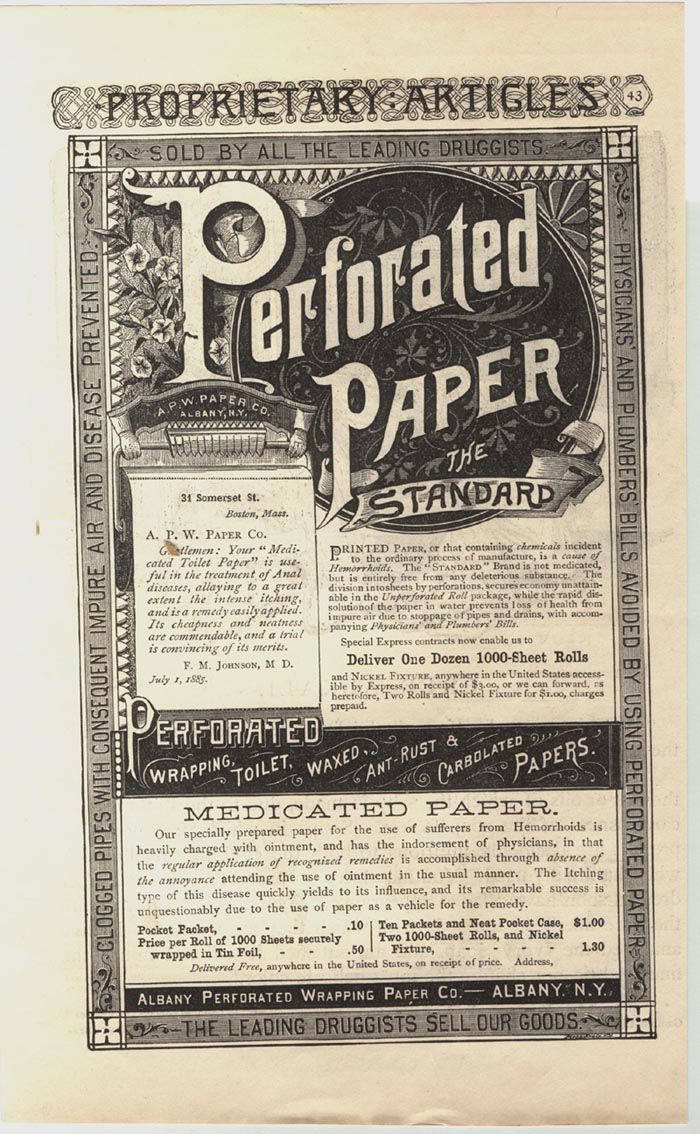 Perforated Toilet Paper Was Invented In Albany NY