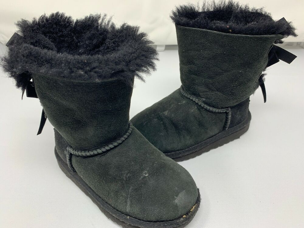 8888a76ba17 UGG Australia Girl's Bailey Bow 3280T Sheepskin Boots Black Youth ...