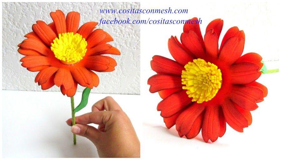 Preciosas Flores De Goma Eva Paso A Paso Con Patron Incluido