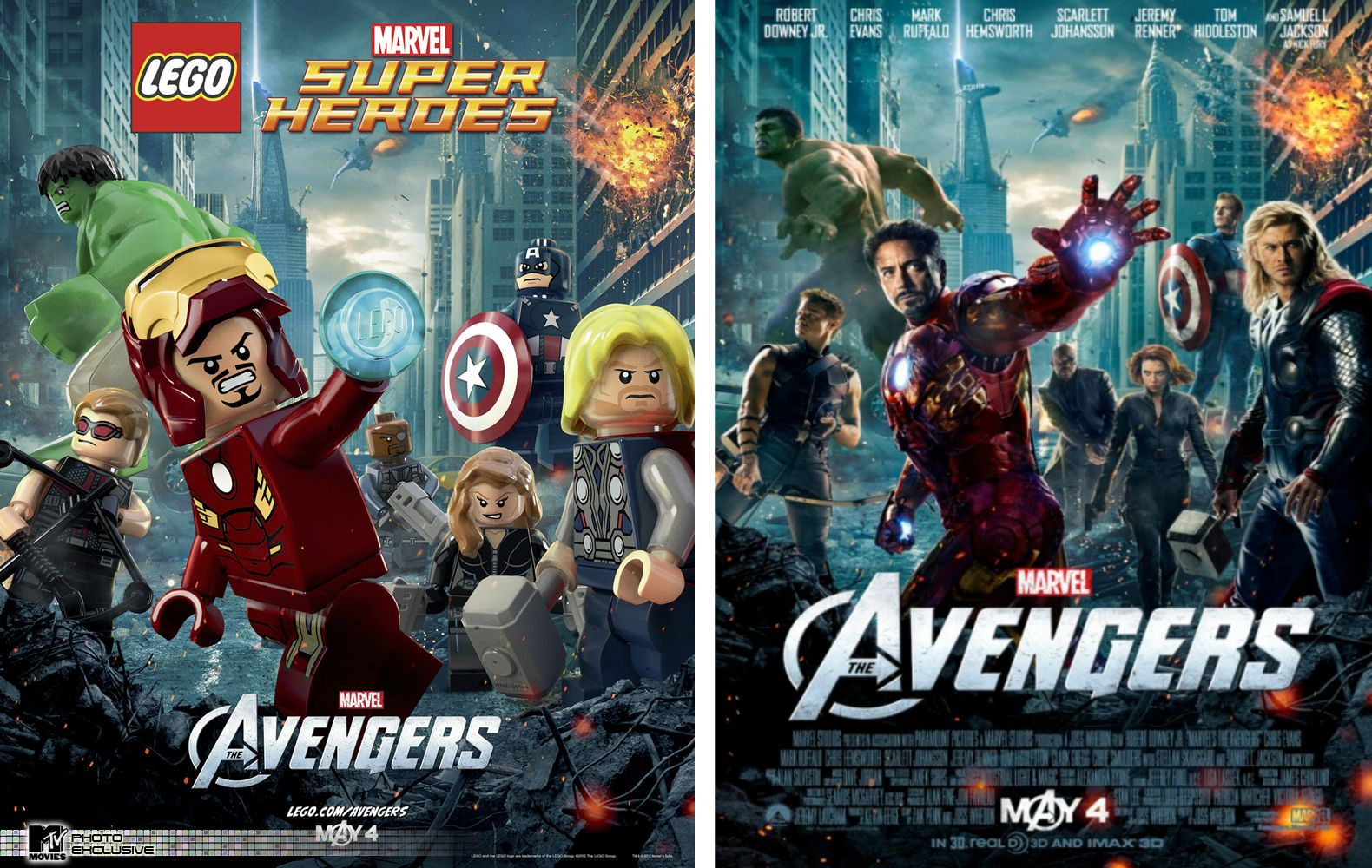 Side by side comparison of lego poster and movie poster of - Film lego marvel ...