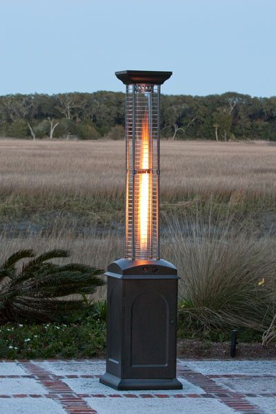 Fire Sense Square Flame Propane Patio Heater Mocha Finish