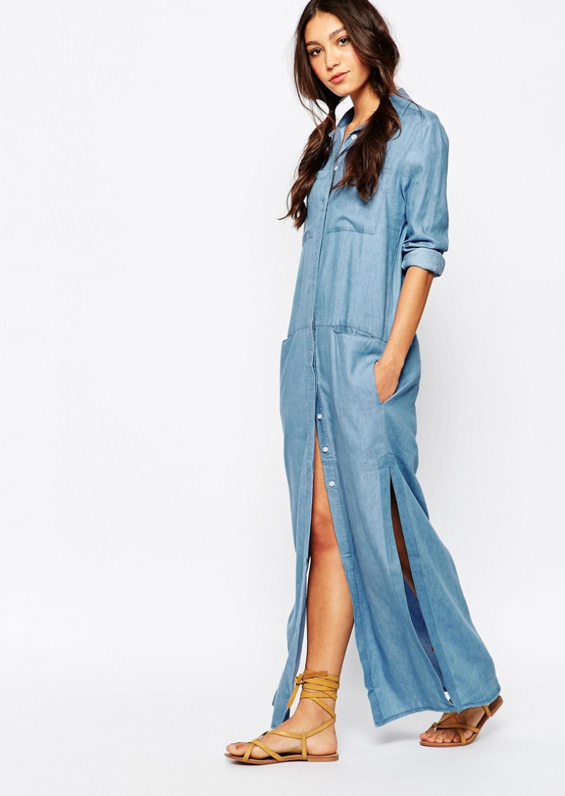 Vestido camisa longo de ganga. 2016 New Arrival Women Blue Summer Fashion  Casual Female Maxi Dress Women Dresses Ladies Long Denim db44103f8