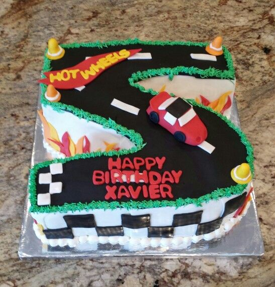 Xaviers 5th birthday Hot Wheels cake Flames checkerboard race