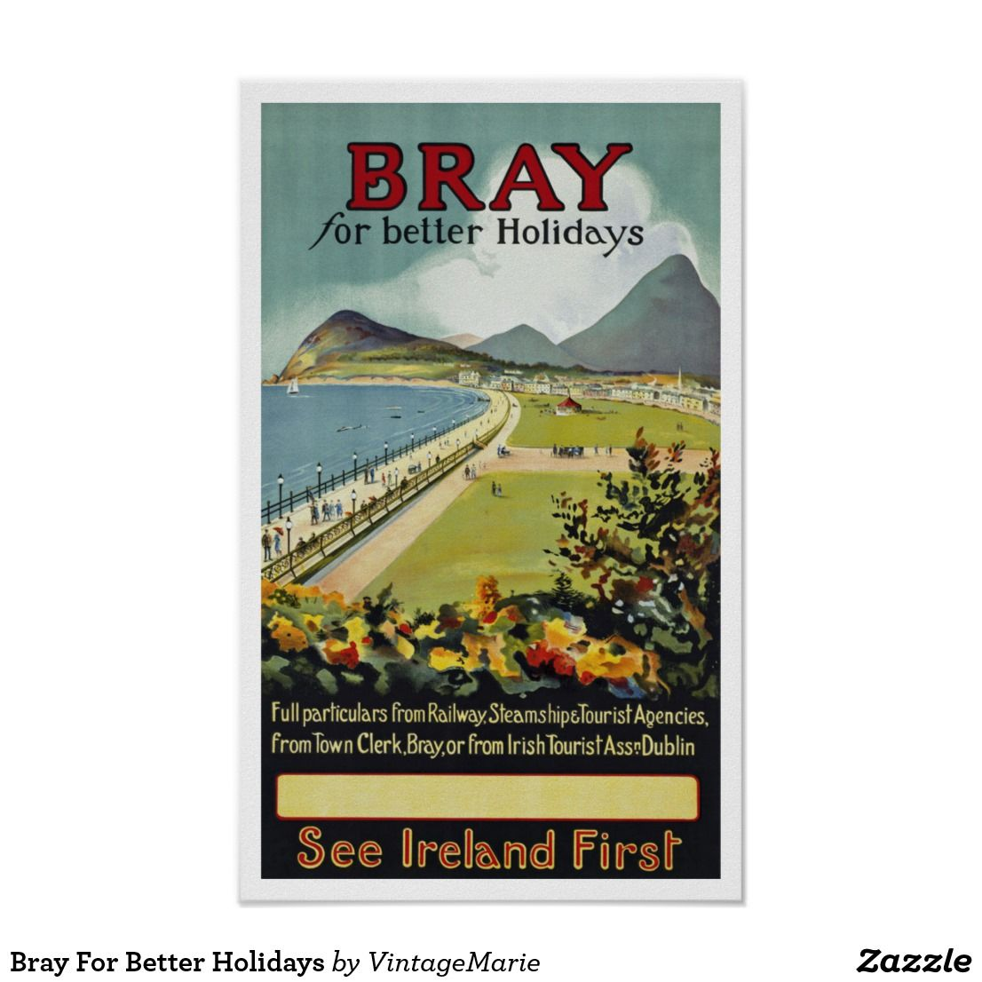 BRAY Ireland Dublin Irish Landscape Beaches Vintage Travel Poster FREE S//H in US