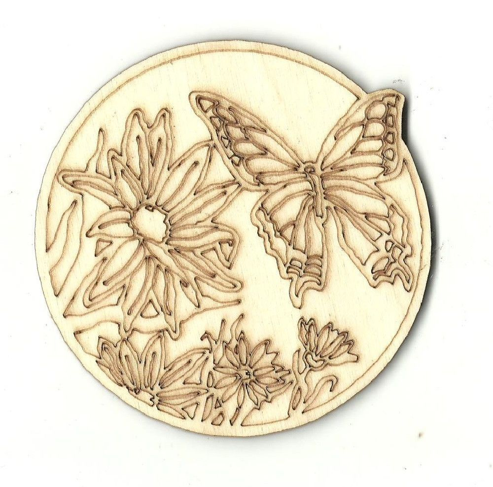 Butterfly Flower Decorative Coaster Wall Decor Unfinished Laser Cut ...