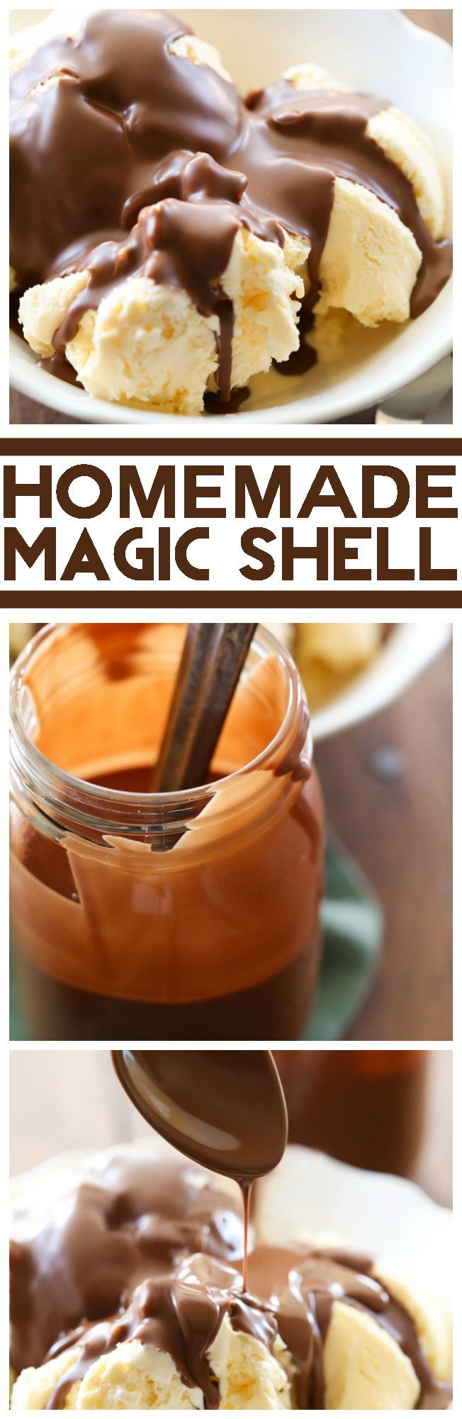 Homemade Magic Shell... you are 2 simple ingredients away from the best ice cream topping! Smooth chocolate that creates a perfect shell for a perfect bite! This stuff is AMAZING!