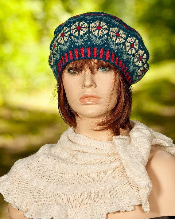 Hand knitted fair isle beret / tam, jacquard beret, flower motifs ...