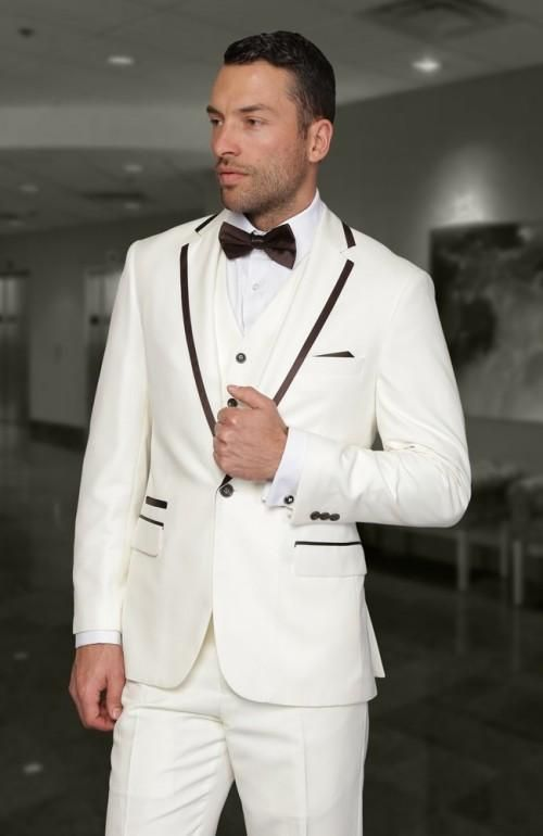 Click to Buy << Top Selling One Button Ivory Groom Tuxedos Notch ...
