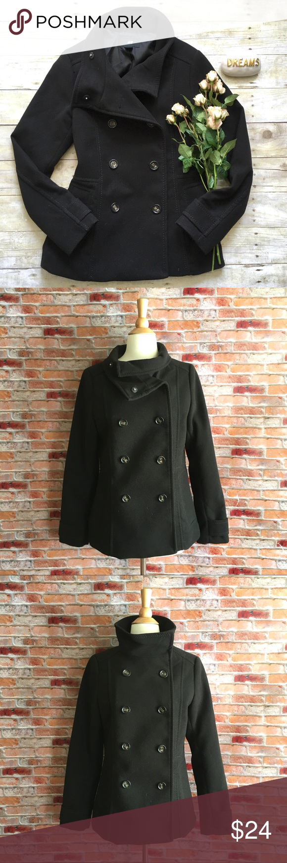 H&M black double breasted pea coat Black pea coat