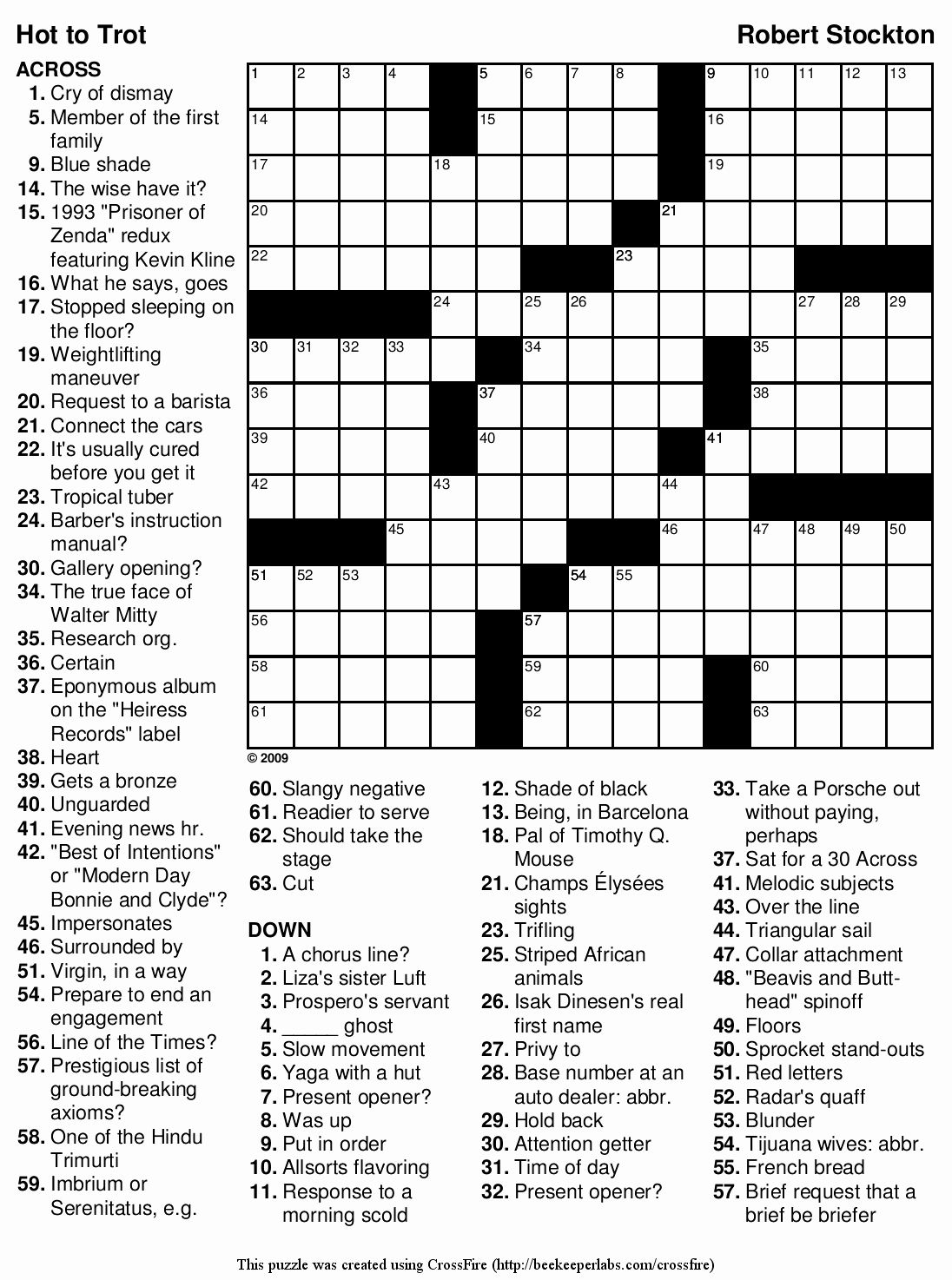 Printable Crossword Puzzle Difficult In