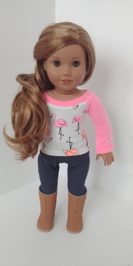 Fits like American girl doll clothes .18 inch doll clothes. 18 inch doll clothing. Flamingo shirt #18inchdollsandclothes