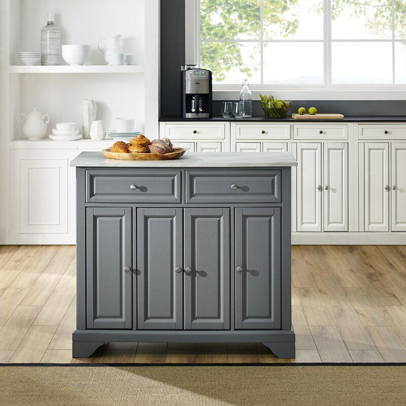 Andover Mills Moser Kitchen Island With Faux Marble Top Wayfair Rolling Kitchen Island Kitchen Cart Navy Kitchen