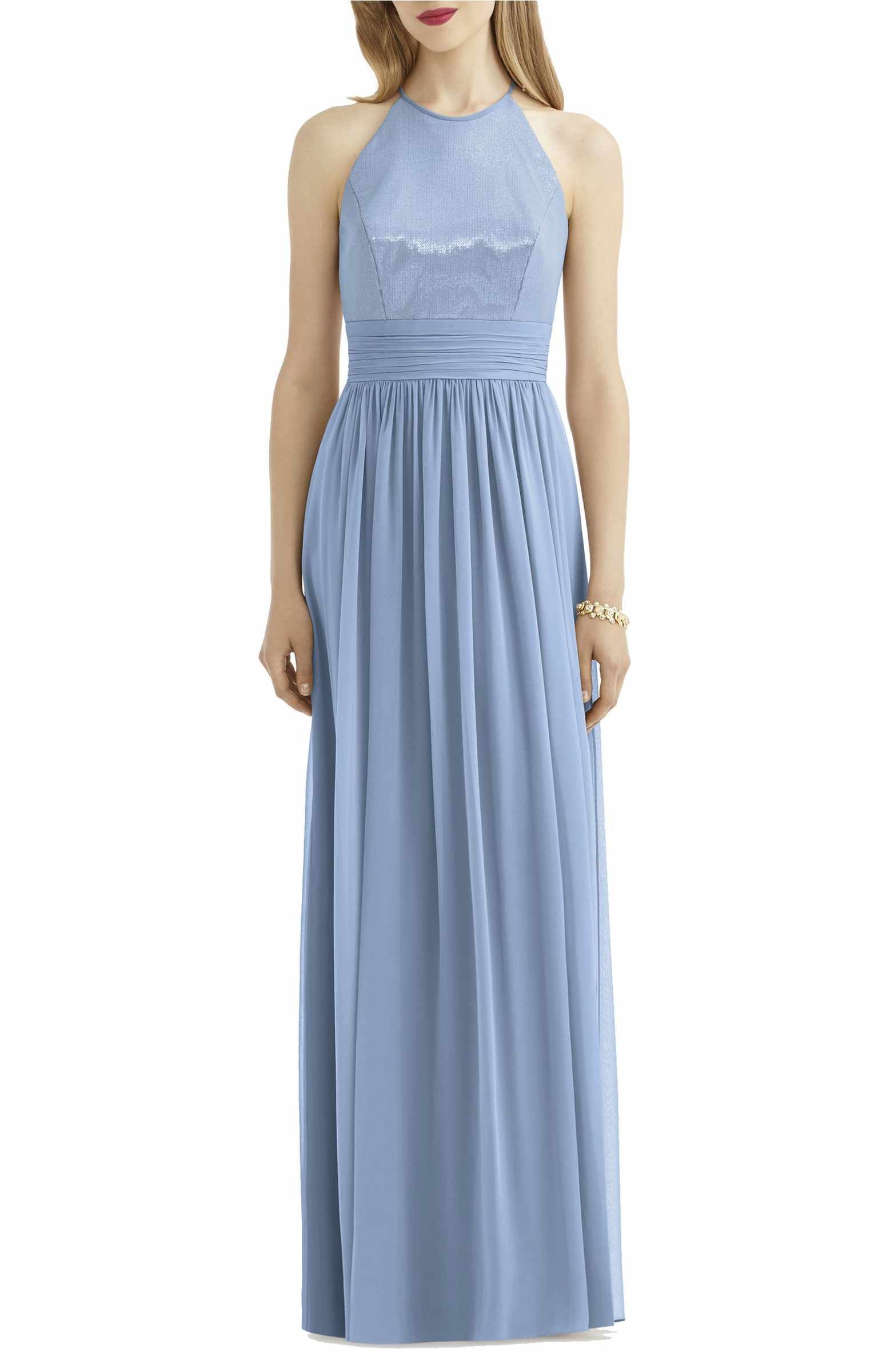 Sequin Open Back Chiffon Gown | Chiffon gown and Gowns