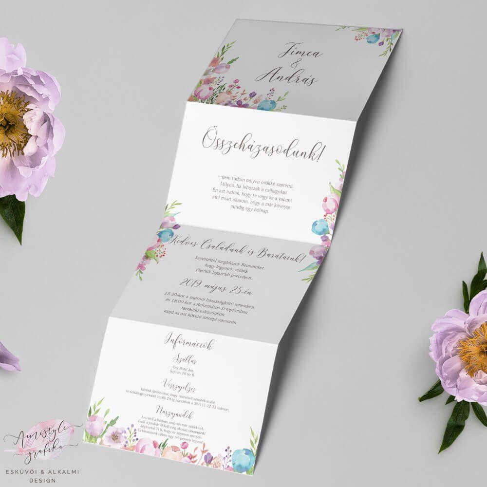 0da485d50e Virágos Hajtogatott Harmonika Esküvői Meghívó | Amistyle Grafika in ...