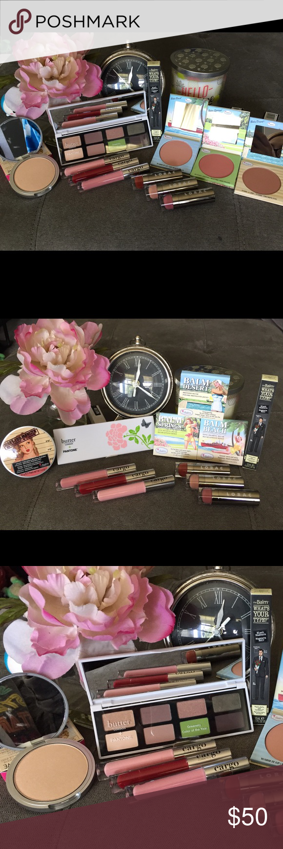 Trendsetter Collab👩🏽🎨All Items BNIB💯Authentic Trendsetter Collab👩🏽🎨TheBalm, Cargo, Lorac & Butter London & Pantone, All items Brand New BNIB💯Authentic,batch numbers shown to display authenticity. Butter London & Pantone Limited Edition Color of The Year Eyeshadow Palette.TheBalm Blushes: Balm Springs, Balm Beach & Balm Desert & Mary-Lou Luminizer, What's Your Type Black Mascara. Cargo Lipglosses: Anguilla,Fresno & Prague. Lorac Lipsticks:Hipster,Granny & Centerfold. Benefit Makeup…