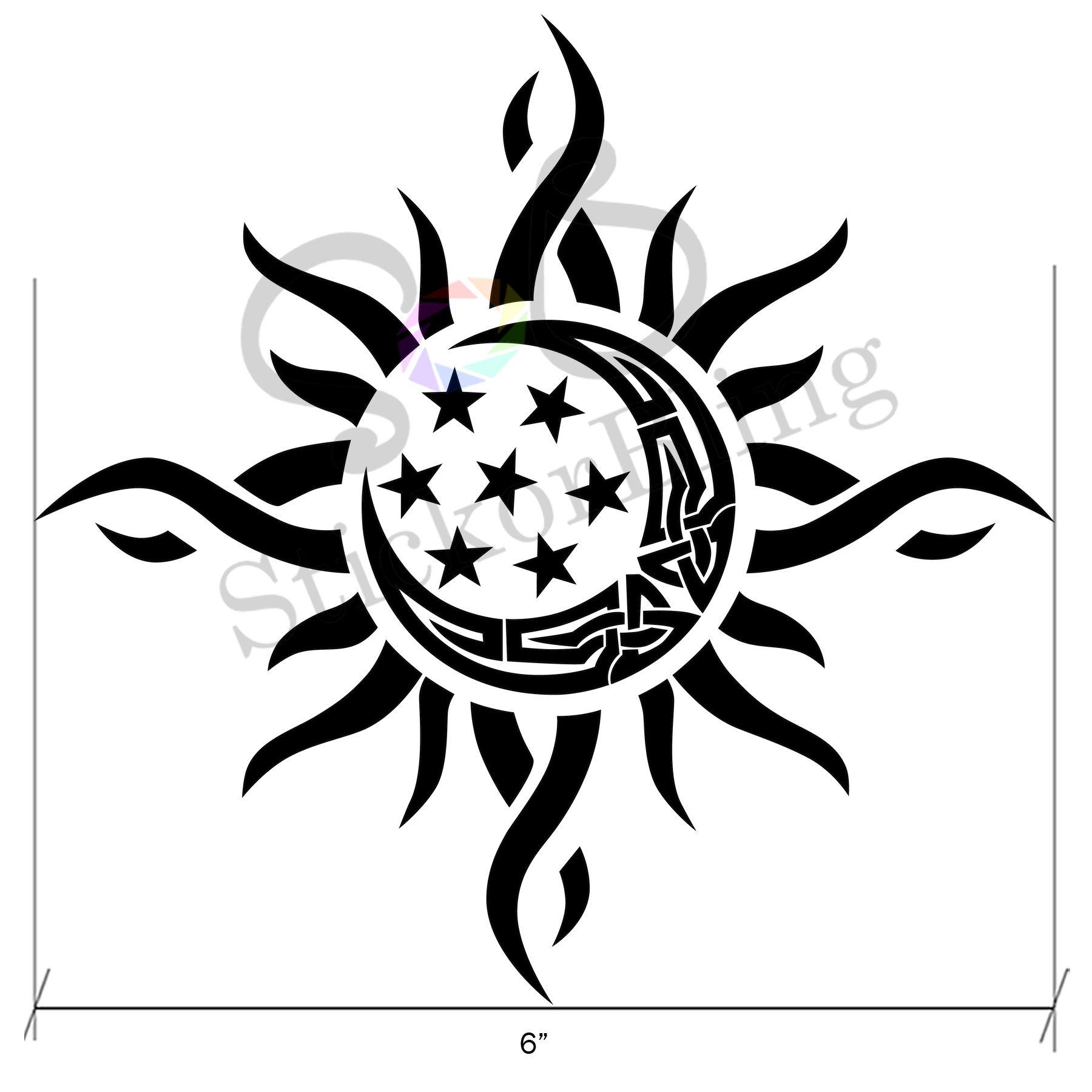 Sun Moon Star Tribal 6 Vinyl Decal Sticker Car Window Bumper