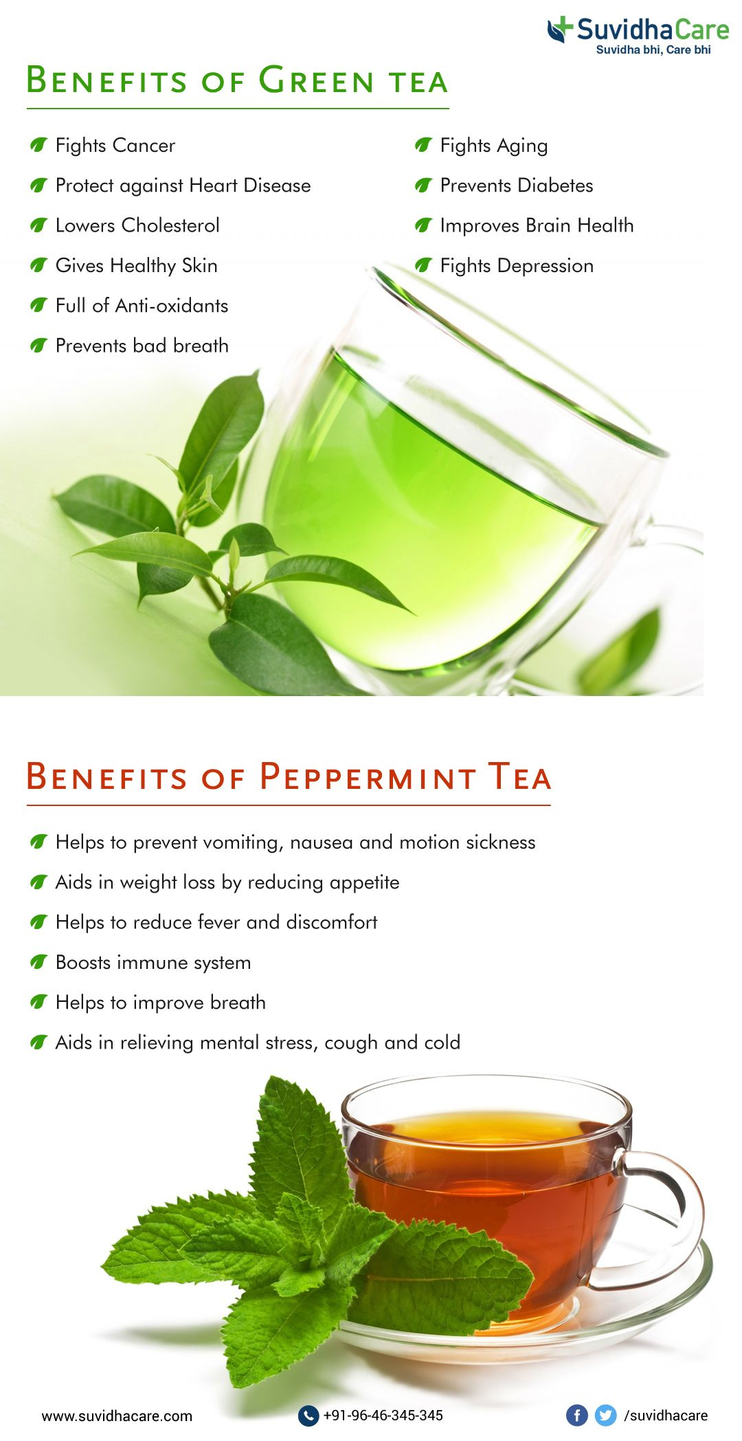 health benefits of green tea & peppermint tea #fightcancer