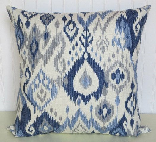 Light Blue Grey White Dark Blue Decorative Pillow CoverDuralee Gorgeous Blue And Grey Decorative Pillows
