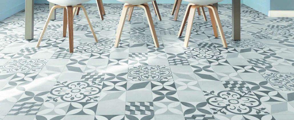 Tapis sur mesure Vinyle - Carreaux de ciment Floral et 3D - Noir et blanc