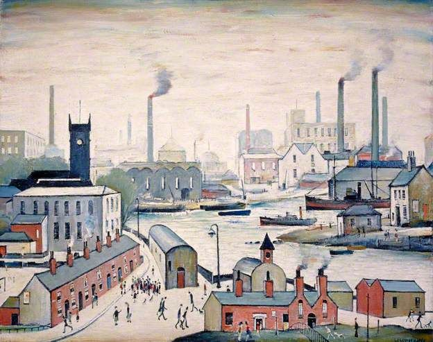 Canal and Factories by L. S. Lowry, 1955. Oil on canvas.