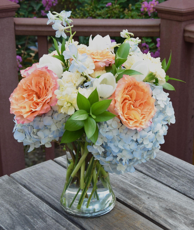 Flower Bouquet With Free Spirit Roses Stock Delphinium Blue Hydrangeas White Tulips Fresh Flowers Arrangements Flower Decorations Flower Arrangements