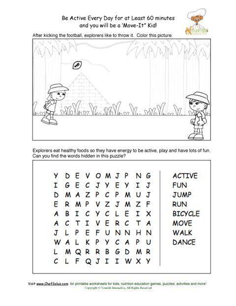 Be Active Every Day Puzzle And Coloring Sheet Exercise For Kids Educational Printables Nutrition Education