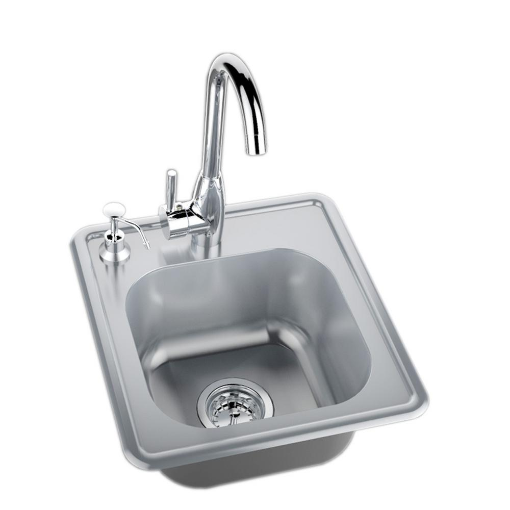 Sunstone 17 In 304 Stainless Steel Single Sink With Cold And Hot Water Faucet A Ss17 The Home Depot Sink Bar Sink Single Bowl Kitchen Sink