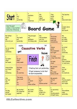 With this board game students will practise causative verb - active verbs