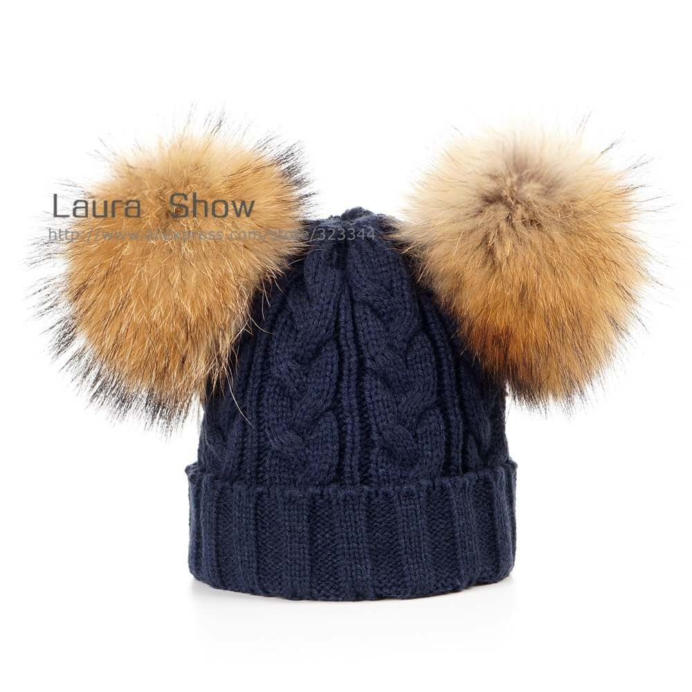 a5507d653eb6ec Ins Hot Style Baby Winter 100% Real 2 Mink Fur Ball Beanie Knit Hat for  Kids Warm Raccoon Fur Pom Poms Skullies Beanies Wool Cap