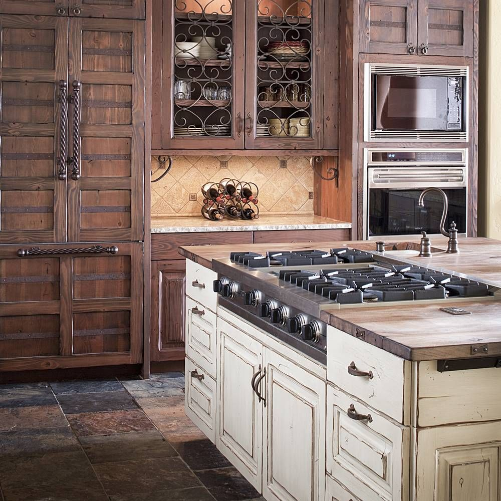 Look at that hidden refrigerator and double ovens distressed painted wood island with old world - Rustic wooden kitchen cabinet ...
