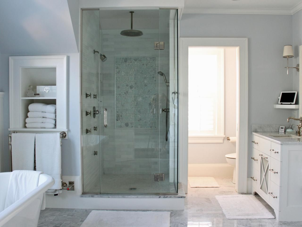 Gray And White Bathroom this soothing pale gray and white spa bathroom features a